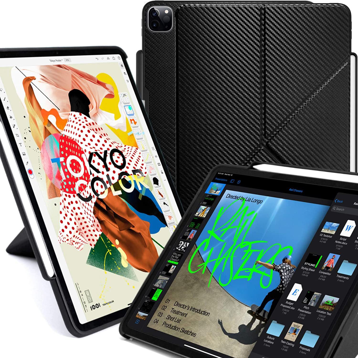 KHOMO iPad Case Pro 12.9 Case 4th Generation 2020 with Pencil Holder - Dual Origami Series - Horizontal and Vertical Stand - Supports Apple Pen Charging - Carbon Fiber (KHO-1685)