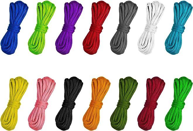 Matogle 14 Pcs Cuerda de Paracord para Tienda de paracaídas Cuerda Multifuncional Cuerda de Supervivencia al Aire Libre Cuerda Cordón Llavero Collar ...