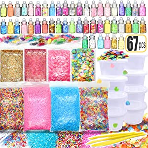 67PCS Slime Supplies Include Sugar Paper Ingredients Floam Beads Fish Bowl Beads Shell Glitter Jars Slime Containers with Lids 4OZ