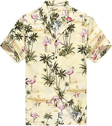 Hecho en Hawaii Camisa Hawaiana de los Hombres Camisa Hawaiana Flamencos Rosados Allover en Amarillo