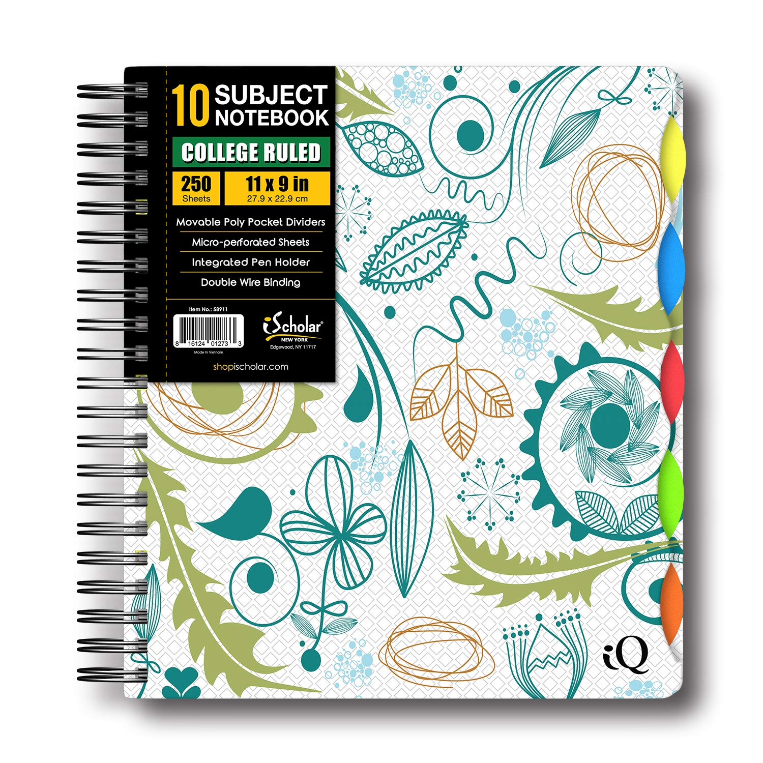 iScholar IQ Poly Cover 10 Subject Notebook, Double Wired, 11 x 8.5 Inches, 250 Sheets, Assorted Bright Cover Designs, Design Will Vary (58911) by iScholar