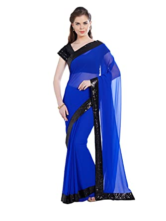 67ccfdb9c2 Amazon.com: Viva N Diva Saree For Women's Royal Blue Color Georgette Saree, Blue,Free Size: Clothing
