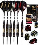 IgnatGames Steel Tip Darts Set - Professional Darts with Aluminum Shafts, Rubber O'Rings, and Extra Flights + Dart…