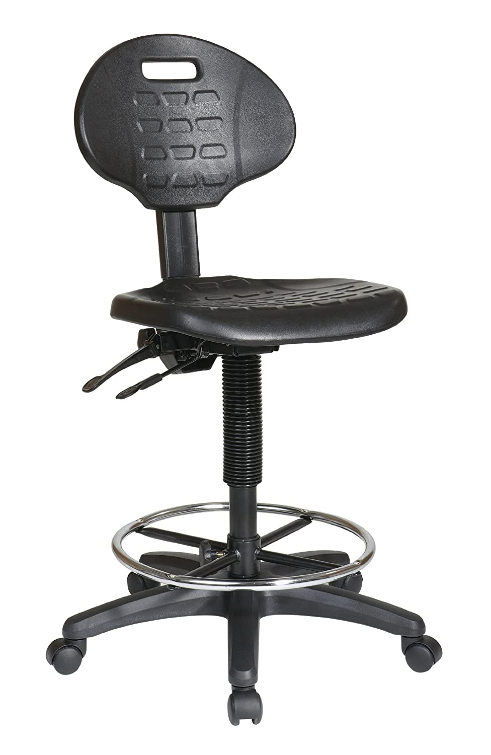 Amazon.com: Office Star Urethane Seat And Back Contour Intermediate Drafting  Chair With Adjustable Footrest And Multi Task Control, Black: Kitchen U0026  Dining