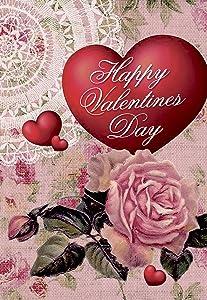 Morigins Heart Rose Decorative Double-Sided Happy Valentine Day Garden Flag 12.5