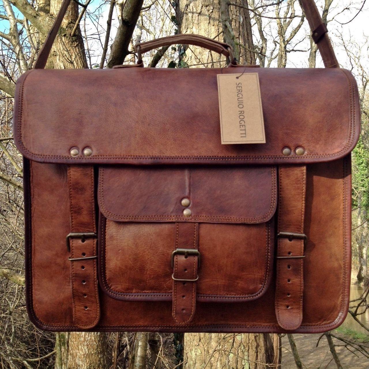 Vintage Leather Laptop Bag 15'' Messenger Briefcase Crossbody Shoulder Satchel Bag