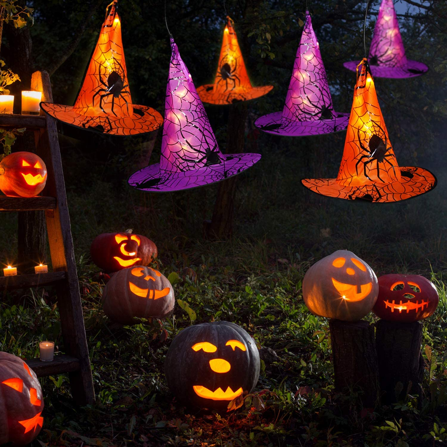 MJ PREMIER Halloween Decorations Witch Hat, Upgrade 10 Pcs Battery Powered Witches Hat String Light 18 ft. 8 Lighting Modes Waterproof Halloween Decor for Outdoor Indoor