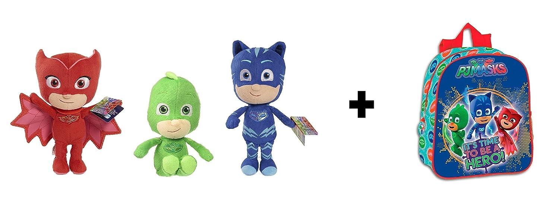 PJ Masks (Bandai) - Pack 3 peluches calidad super soft Buhíta 20cm (rojo) Gatuno 20cm (azul) Gekko 20cm (verde) + Mochila infantil guarderia 28cm 55488: ...