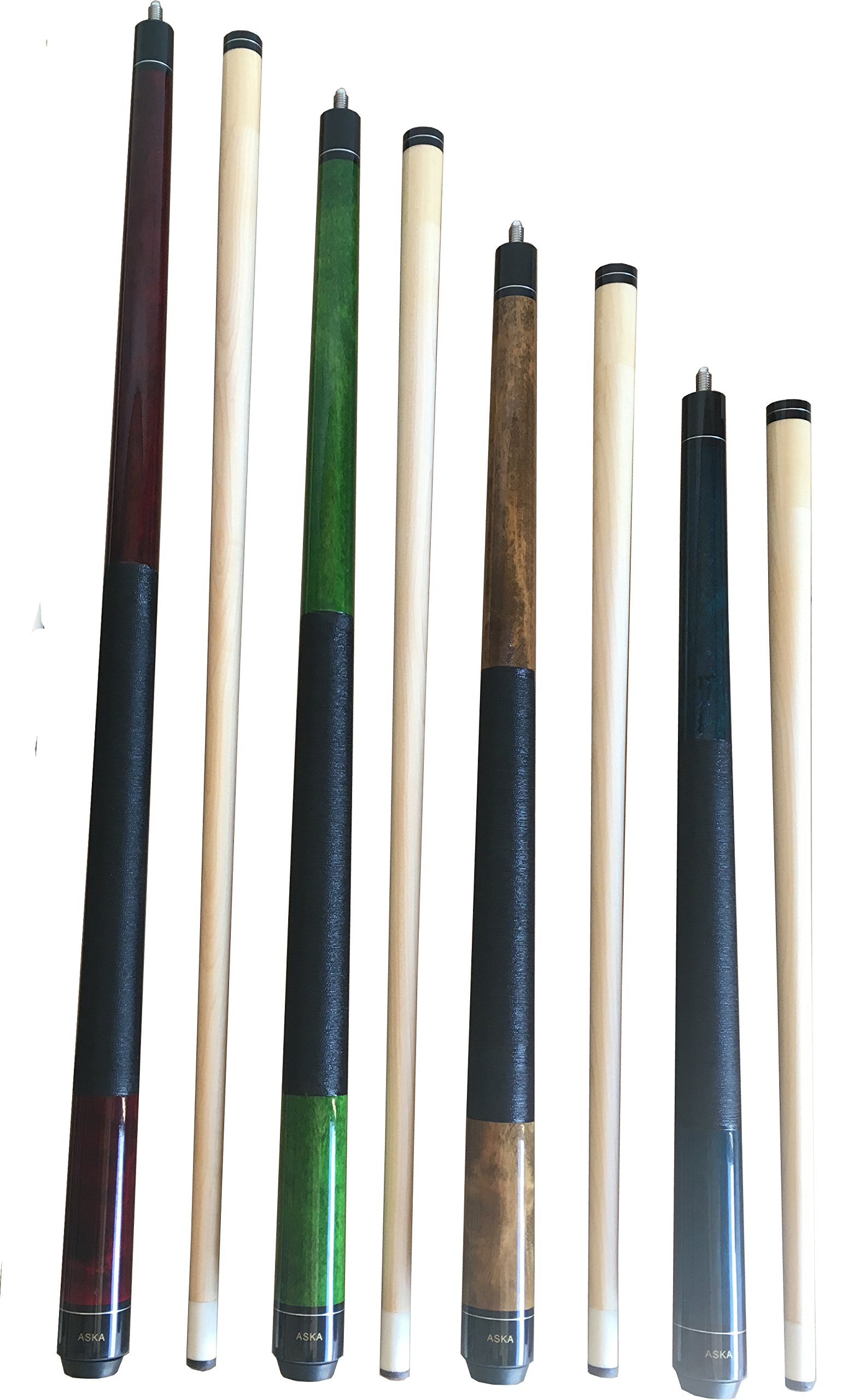 Aska Set of 4 Mixed Length Cues LS4, Canadian Hard Rock Maple Billiard Pool Cue Sticks, Short, Kids Cues