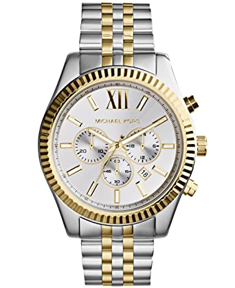 8b0a2d6eefa6 Amazon.com: Michael Kors Men's Lexington Two-Tone Watch MK8344 ...