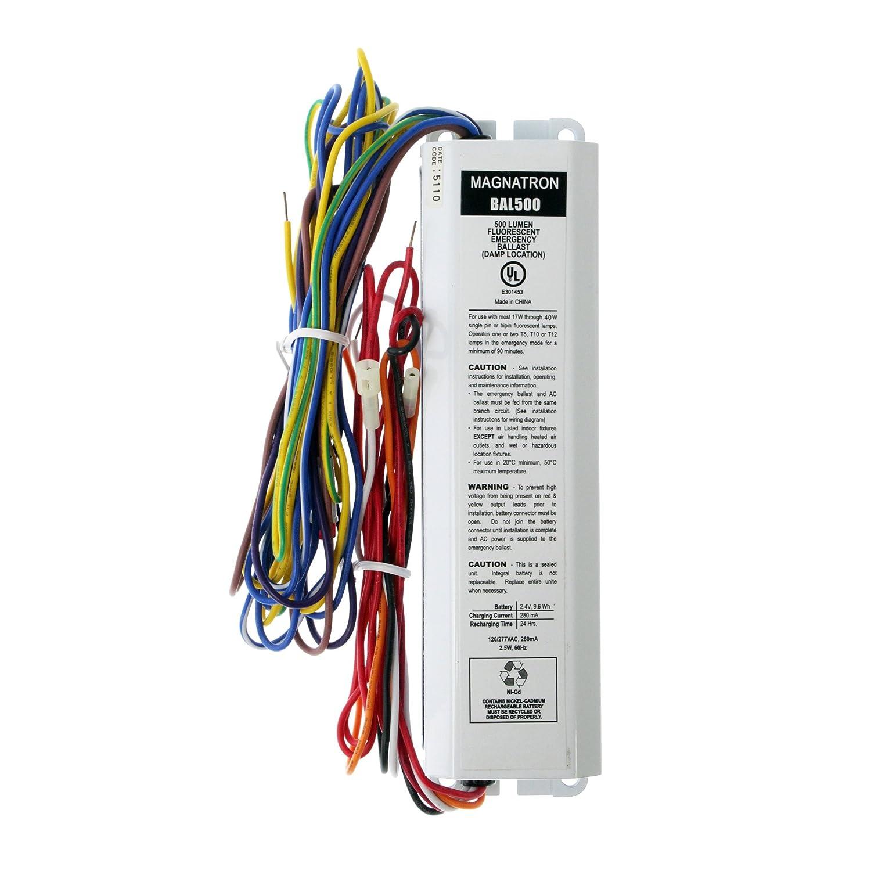 Magnatron Bal500 Fluorescent Emergency Ballast 1 Lamp 500lumen T5 Wiring Diagram 25w 120 277v
