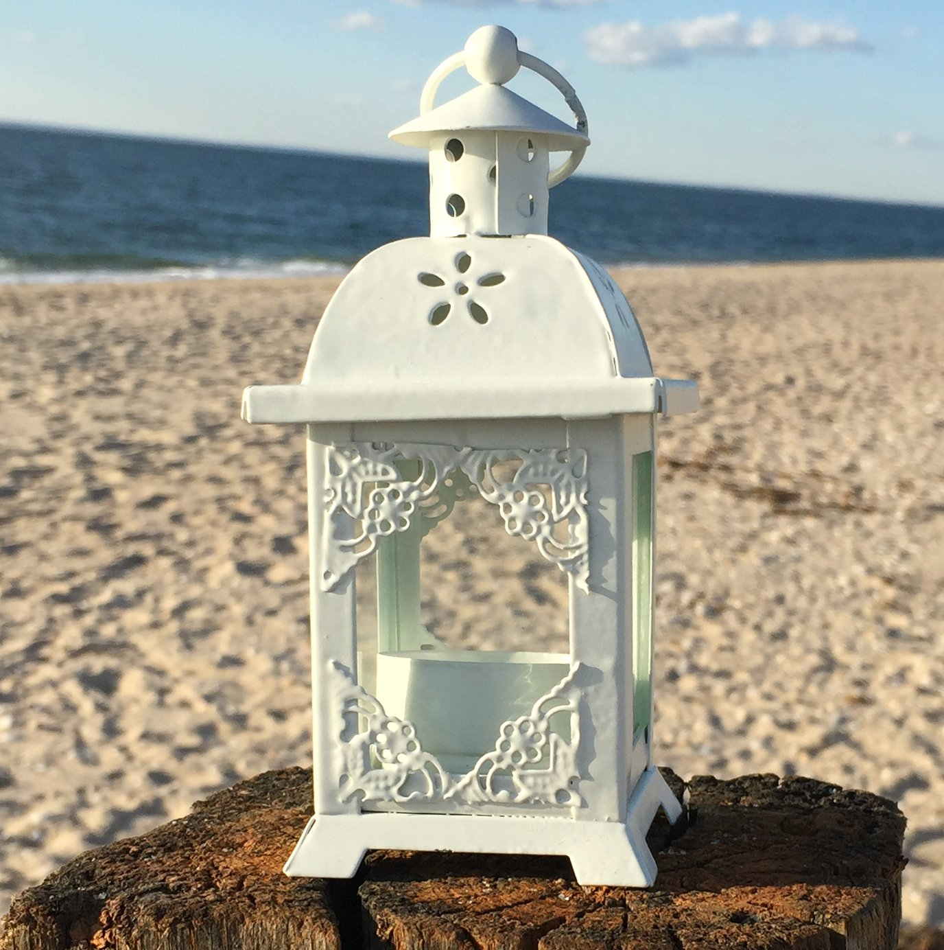 White Romantic French Country Style Metal Candle Lantern Small | ChristmasTablescapeDecor.com