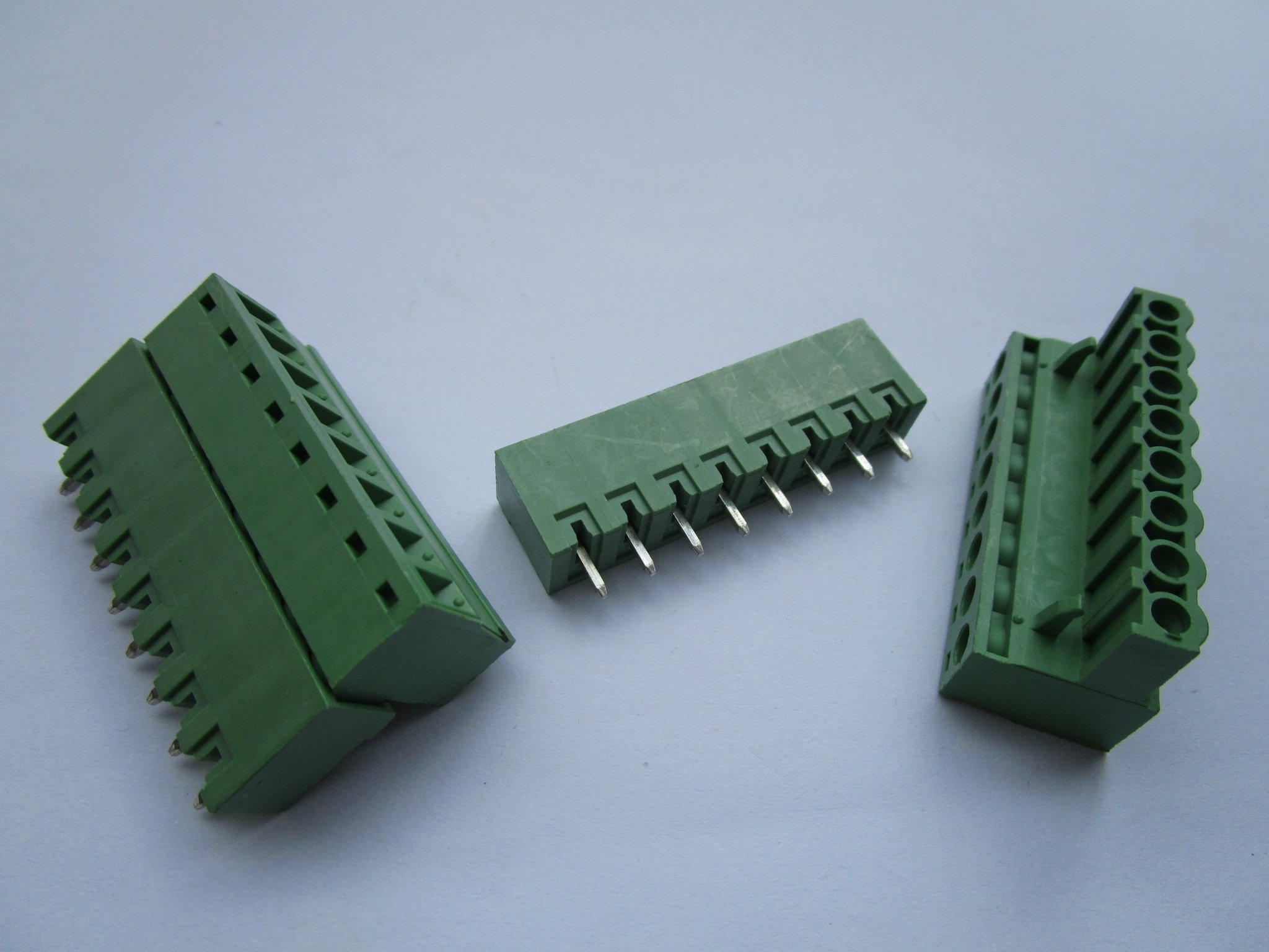 120 Pcs Close Straight 8 Pin/way Pitch 5.08mm Screw Terminal Block Connector Green Color Pluggable Type with Straight Pin