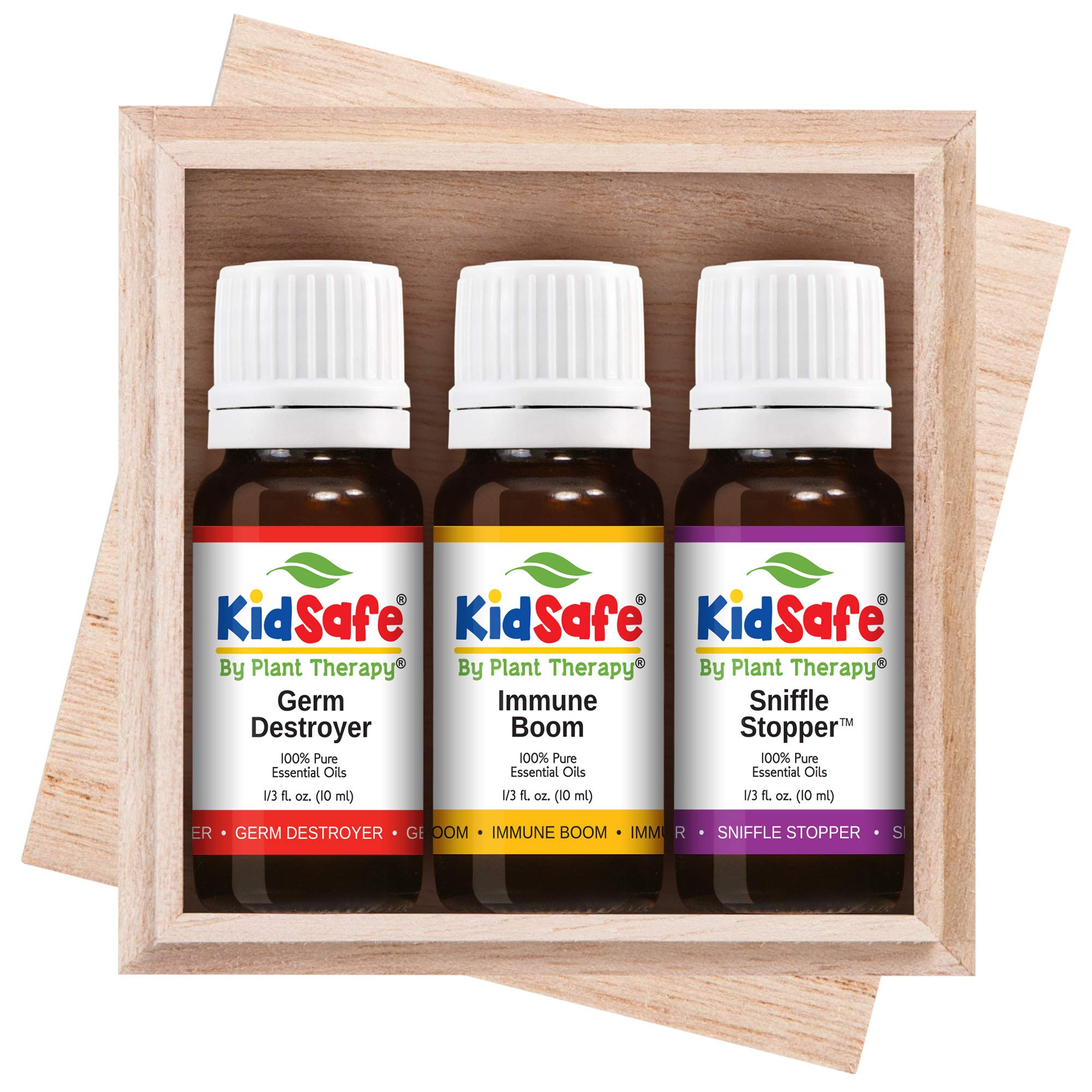 Plant Therapy Essential Oils KidSafe Wellness Sampler Boxed Set Includes Germ Destroyer, Immune Boom, Sniffle Stopper 100% Pure, Undiluted, Natural Aromatherapy 10 mL (1/3 oz) by Plant Therapy
