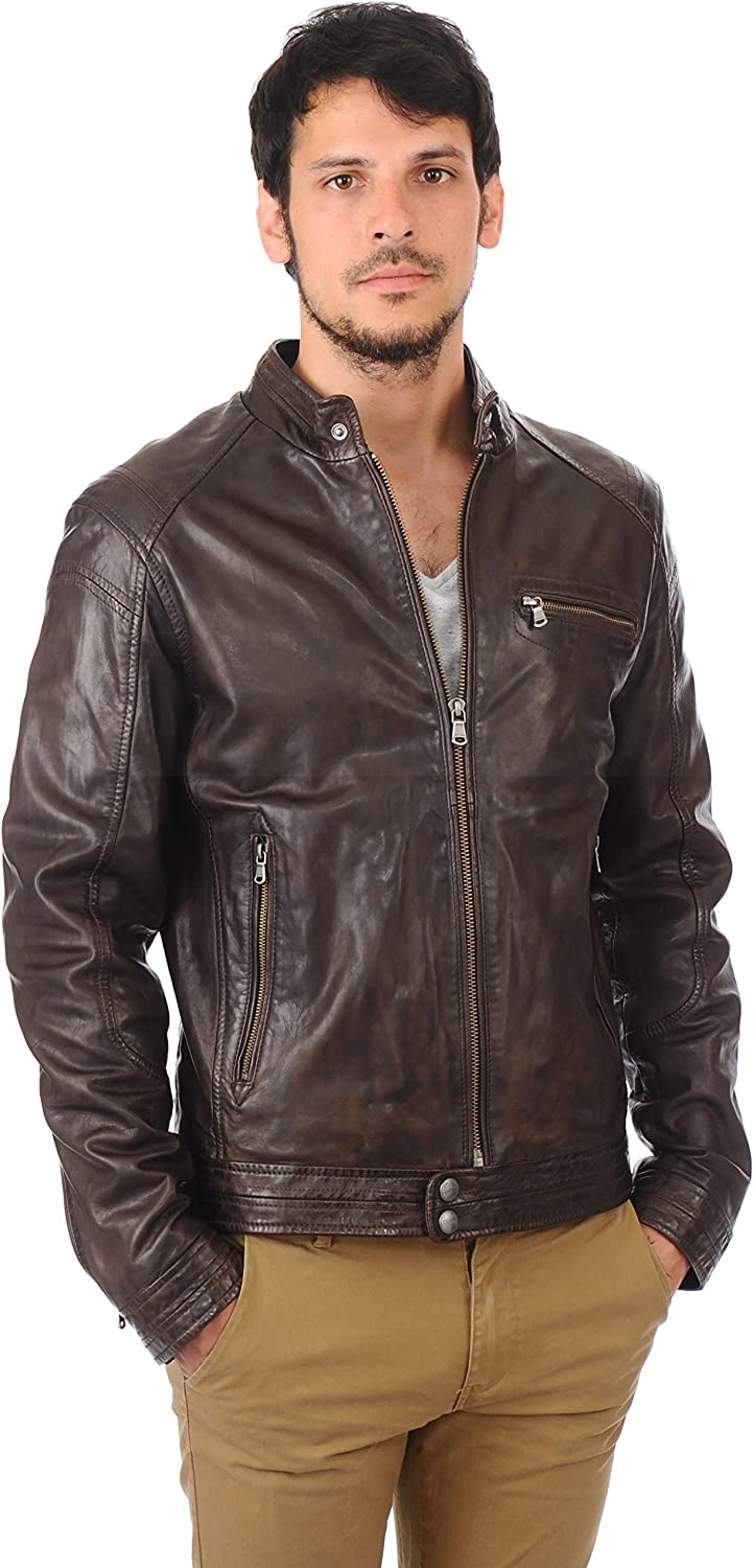 Fab Leather Mens Lambskin Bomber Biker Leather Jacket