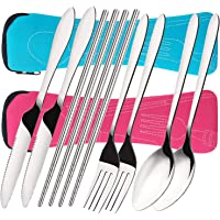 8 PCS Flatware Sets Knife, Fork, Spoon, Chopsticks, 2 Pack Stainless Steel Travel Camping Cutlery Set with Case