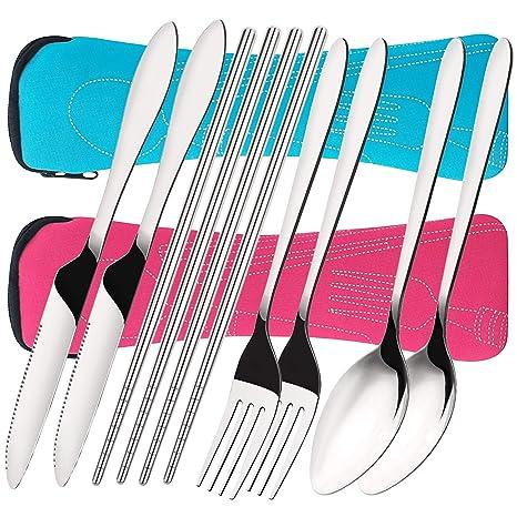 Amazon.com: Juego de 8 cuchillos, tenedores, cucharas ...