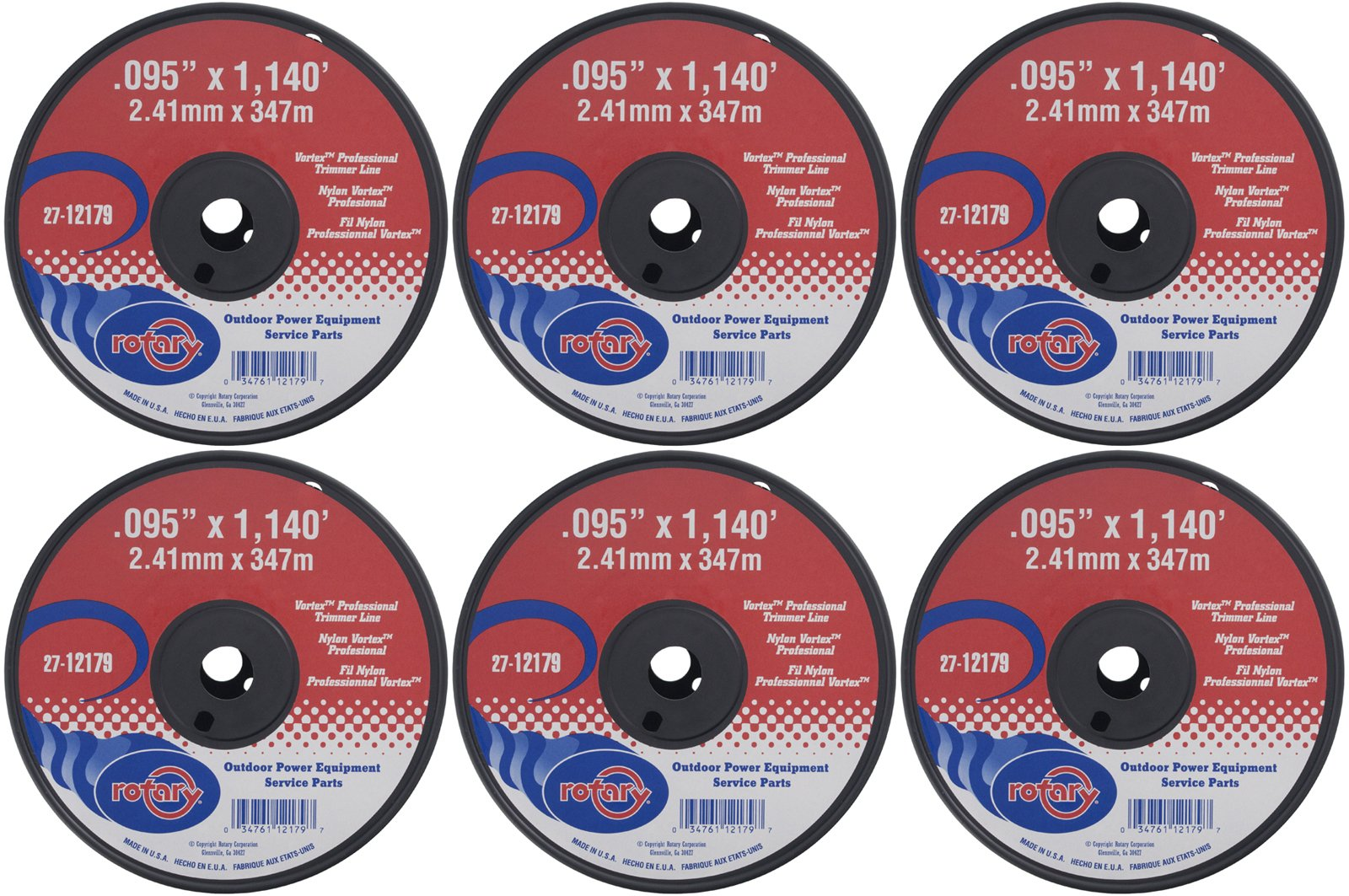 Rotary Six (6) Pack of Vortex Trimmer Line 12179 .095 x 1140 5 LBS Spools