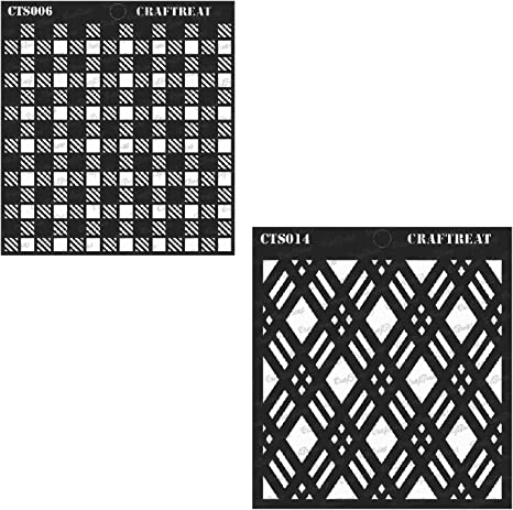 Fabric Asymmetrical Lines /& Circles on Waves CrafTreat Stencil Wood 6X6 Wall DIY Albums and Printing on Paper Floor Crafting Tile 2 pcs   Reusable Painting Template for Home Decor