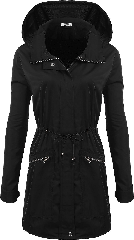 Meaneor Damen Wetterschutzjacke Kapuzen-Leichtgewicht wasserdichte Regenbekleidung Outdoor Langarm Schlank Regenm/äntel Regenjacke