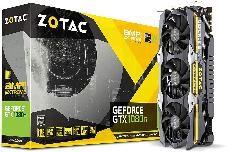Zotac GeForce GTX 1080 Ti AMP Extreme 11 GB GDDR5X - Tarjeta gráfica (GeForce GTX 1080 Ti, 11 GB, GDDR5X, 352 bit, 11200 MHz, PCI Express x16 3.0)