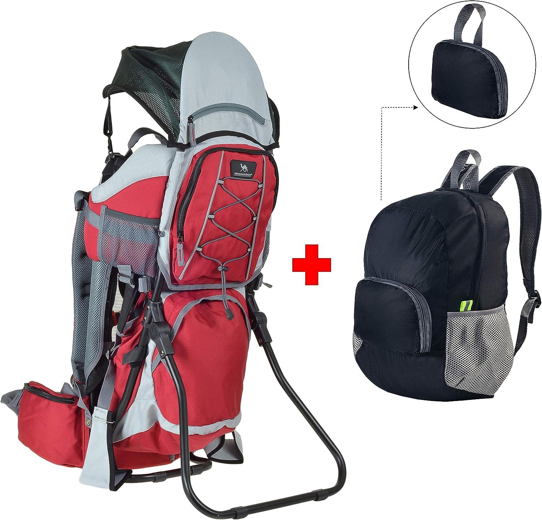 Kindertrage Rucksack Baby kraxe mit Sonnen-Regenschutz Carrier Wandern camping