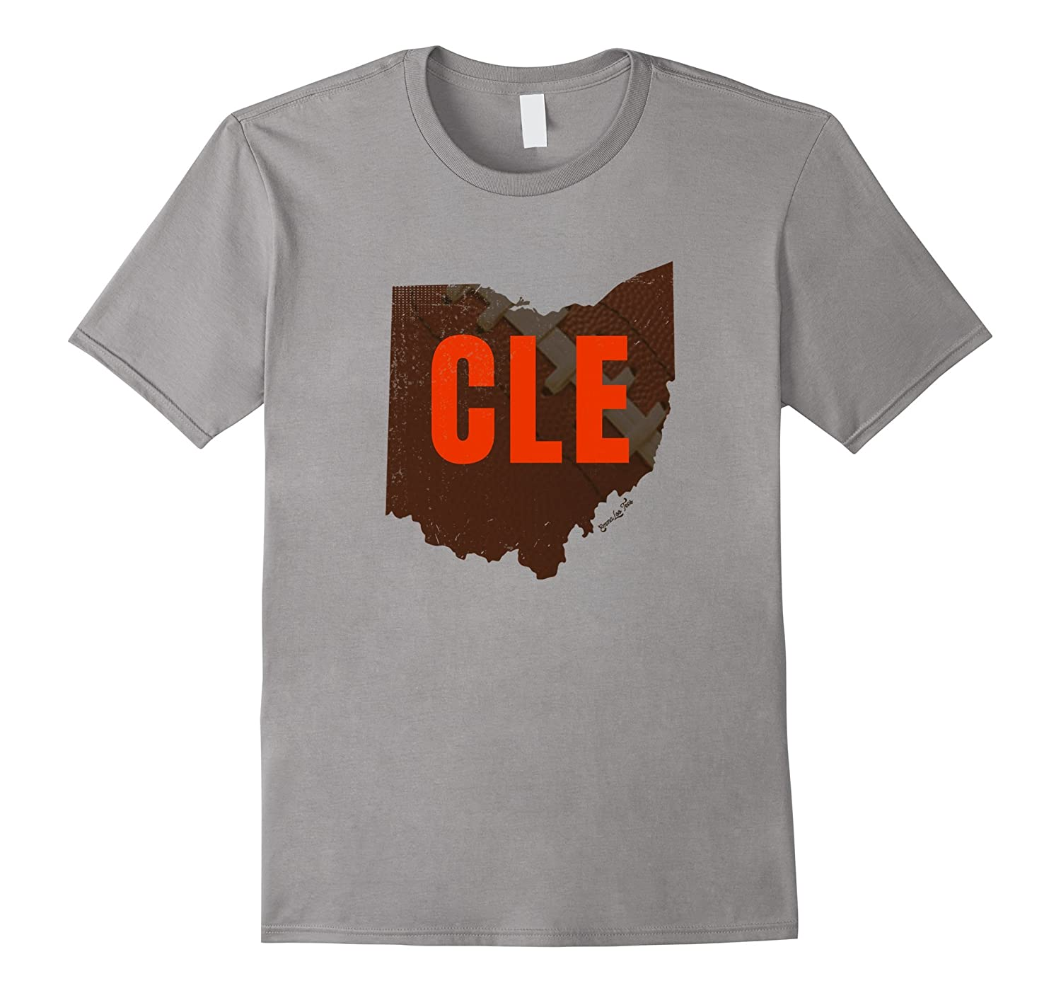CLE Cleveland Football Ohio Outline Distressed T-Shirt-TH