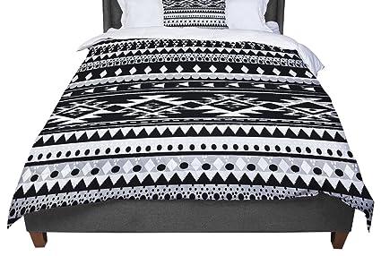 104 x 88 Kess InHouse Nika Martinez Black Hurit Gray White Cotton King Duvet Cover