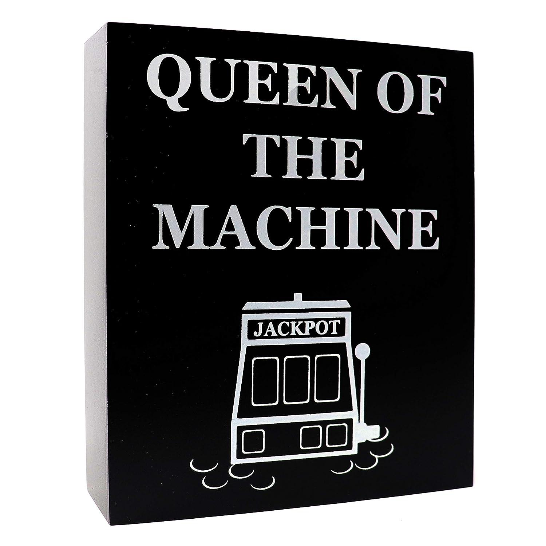 JennyGems Casino Jackpot Slots Inspired Wood Gift Sign - Queen of The Machine - Slot Machine Keepsake Decoration for Casino Lovers