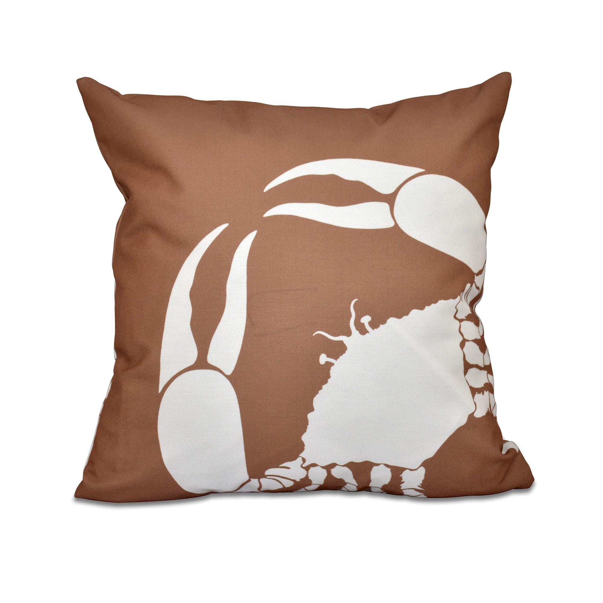 E by design O5PAN468TA8-18 18 x 18'' Crab Dip Animal Print Brown Outdoor Pillow