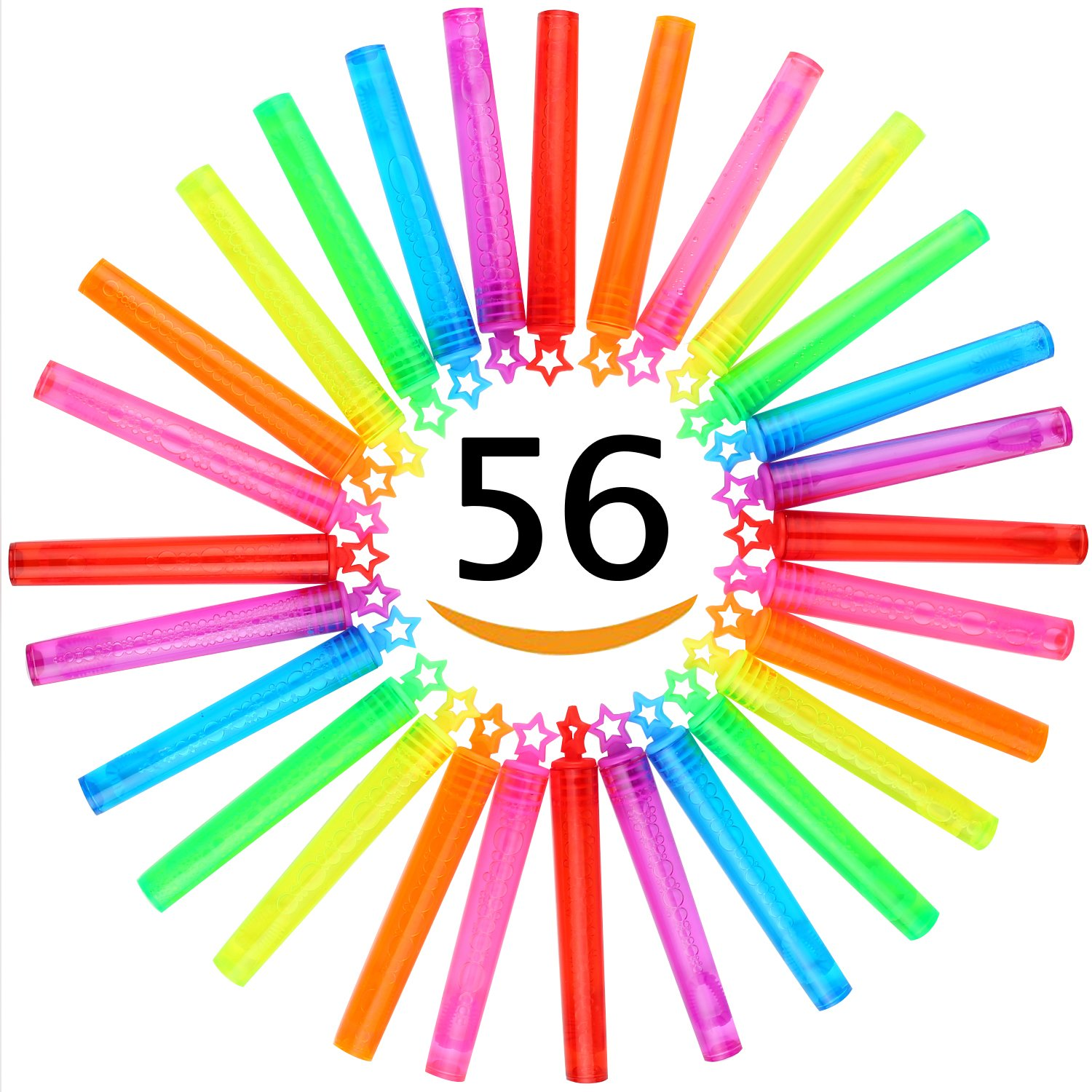 Bubble Wand, 56 Pcs Mini Star Bubble Wand Set(7 Colour), Non-toxic Smelless Bubble Toy For Kids Child Birthday Party Favor Wedding Summer Outdoor Activity Bathroom Bath Toys, 4 inch, by CHIMAGER by CHIMAGER