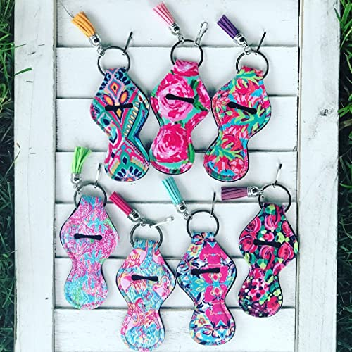 SET OF 7 Lilly Floral Pattern Neoprene Travel Keychain Case for Essential Oil Roller Bottles,