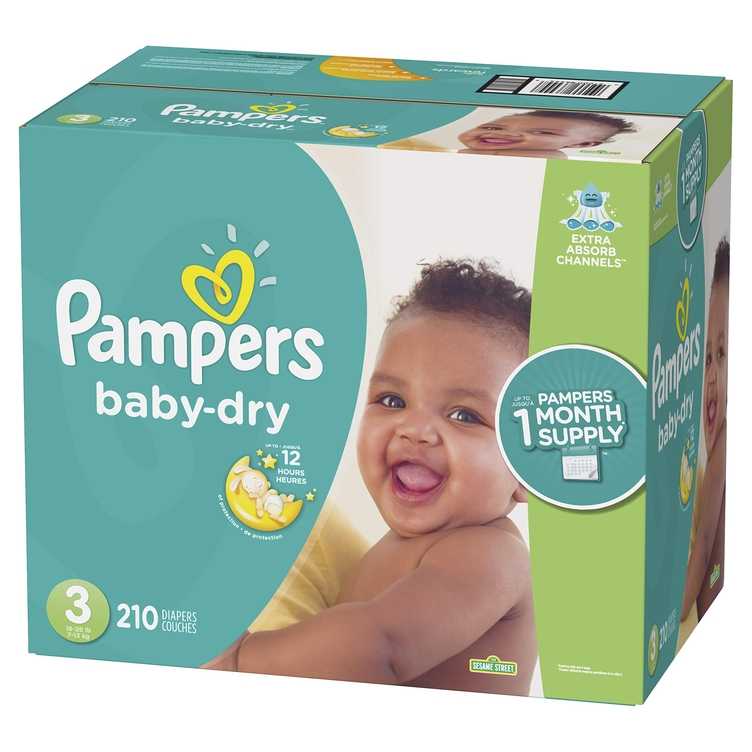 Diapers Size 3, 210 Count - Pampers Baby Dry Disposable Baby Diapers, ONE MONTH SUPPLY by Pampers