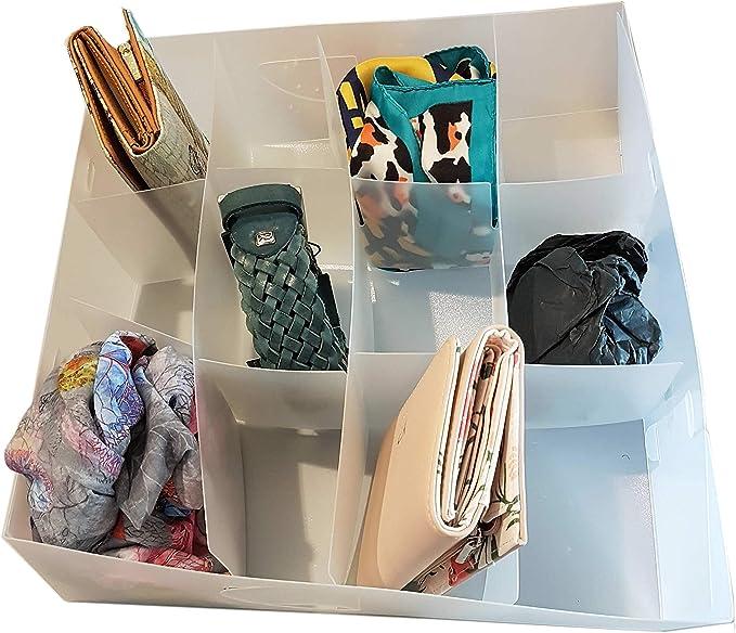 DynaSun PP51HA Juego de 5 cajas transparentes multiusos organizador recipiente para sujetadores separador de cajones ropa interior calcetines 12 compartimentos