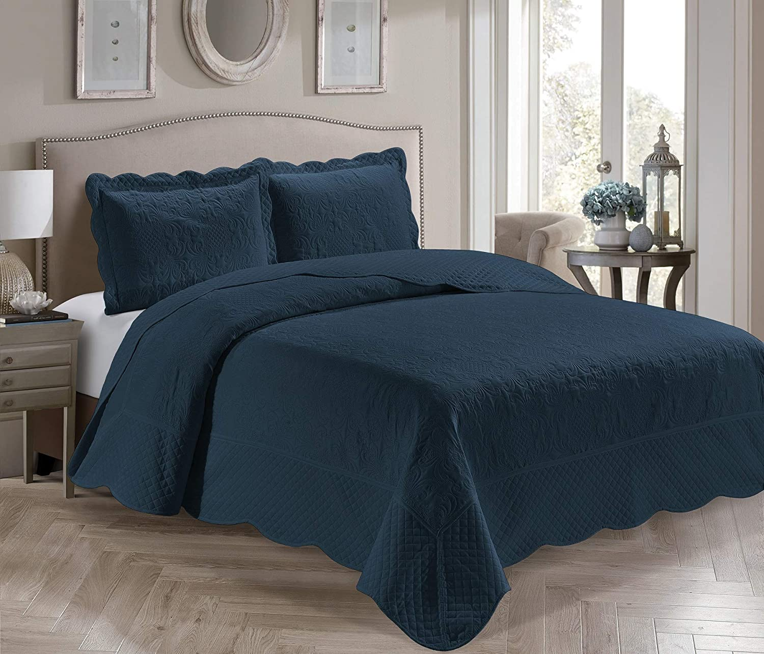 Home Collection 3 Piece King/California King Over Size Embossed Solid Navy Blue Color Coverlet Bedspread New # Veronica