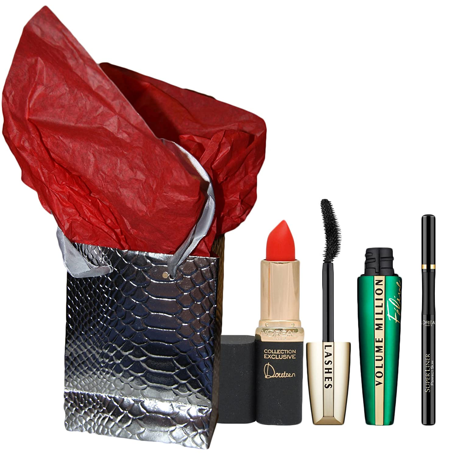 Coffret cadeau noel L'OREAL - mascara FELINE + eye liner superliner superstar noir + rouge levres color riche doutzen rouge + boite + papier soie L' OREAL