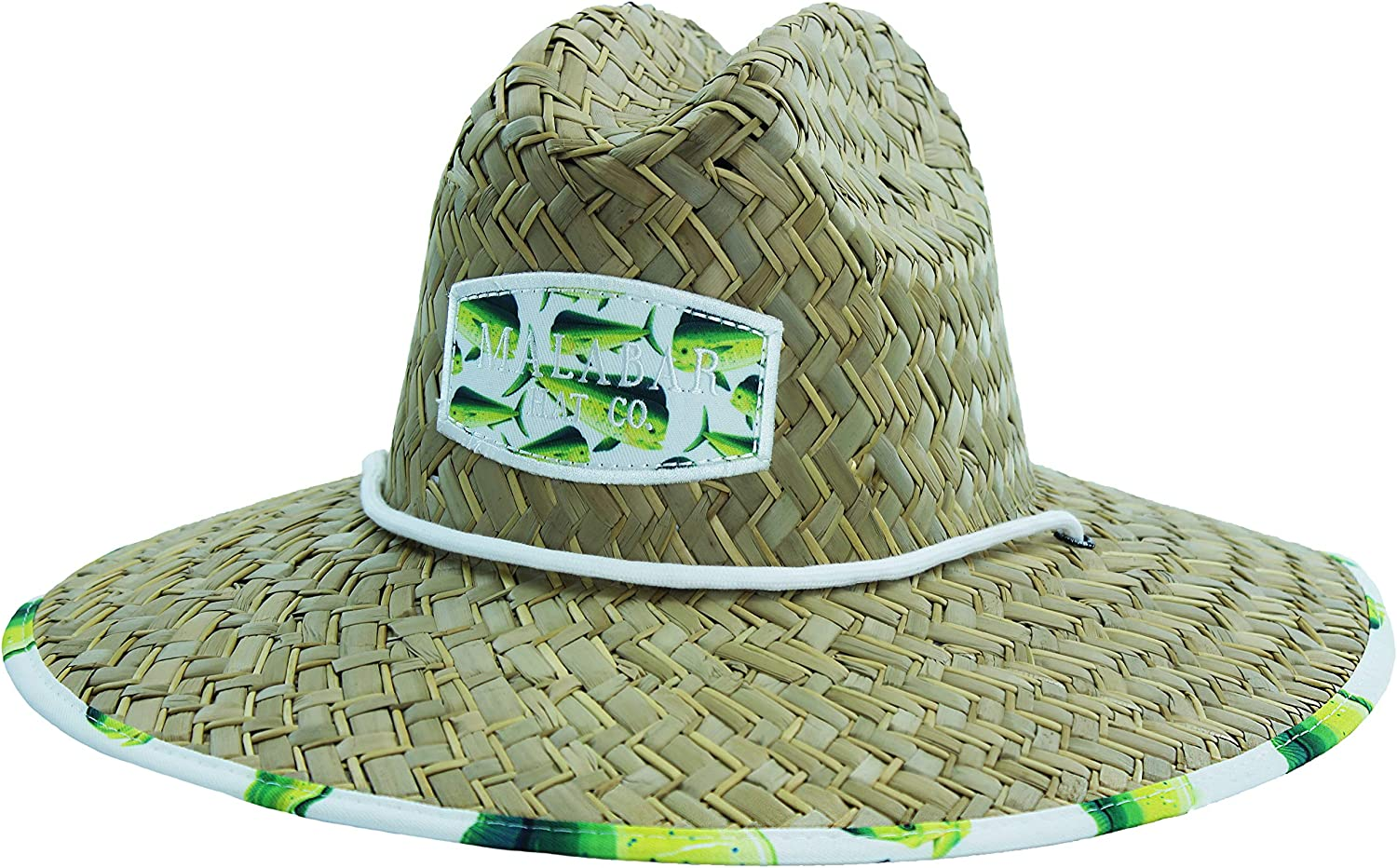 Pool Beach Mens Straw Hat with Fabric Pattern Print Lifeguard Hat and Outdoors Gardening