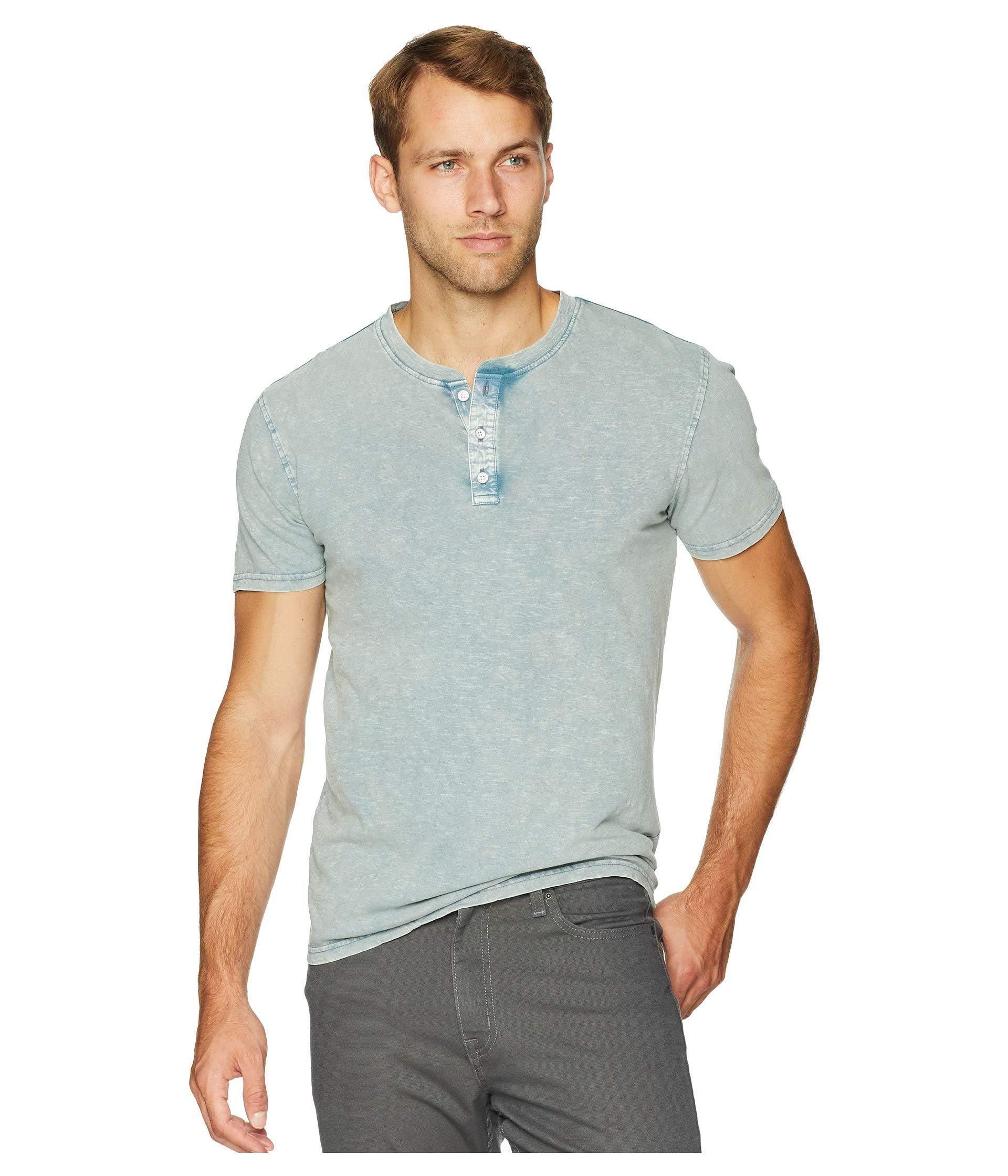 Lucky Brand Men's Casual Short Sleeve Sugar Magic Henley Tee, Blue, M