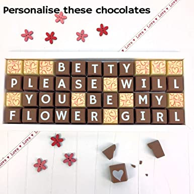 8a241b6bd3b9d PLEASE WILL YOU BE MY FLOWER GIRL Chocolates with Personalised Name - Milk    White Chocolate with Love Pattern Chocolate Gift for Flower Girl   Amazon.co.uk  ...