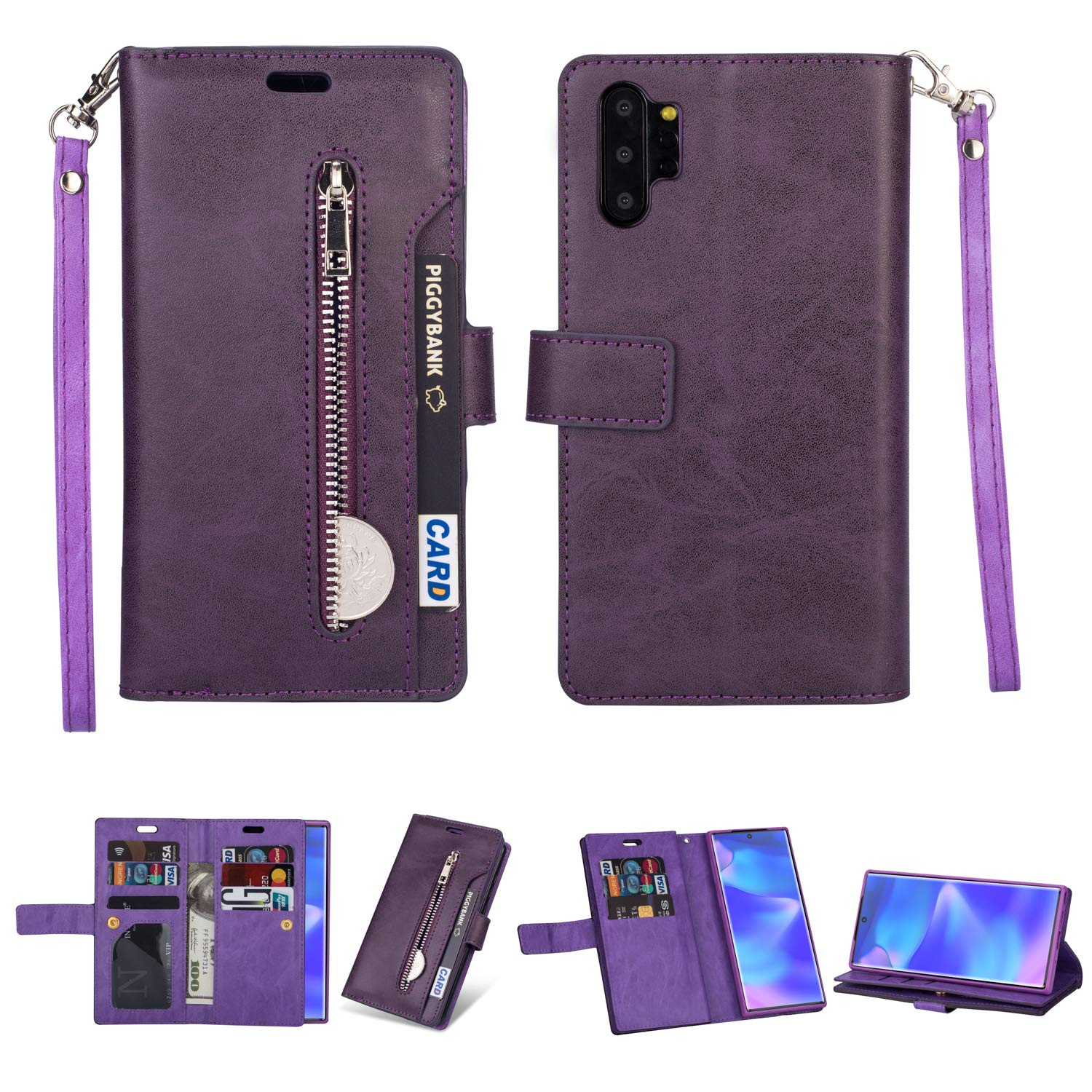 DAMONDY for Samsung Note 10 Plus Case,Zipper Stand Wallet Purse 9 Card Slot ID Holders Design Flip Cover Pocket Purse Leather Magnetic Protective for Samsung Galaxy Note 10 Plus-Purple