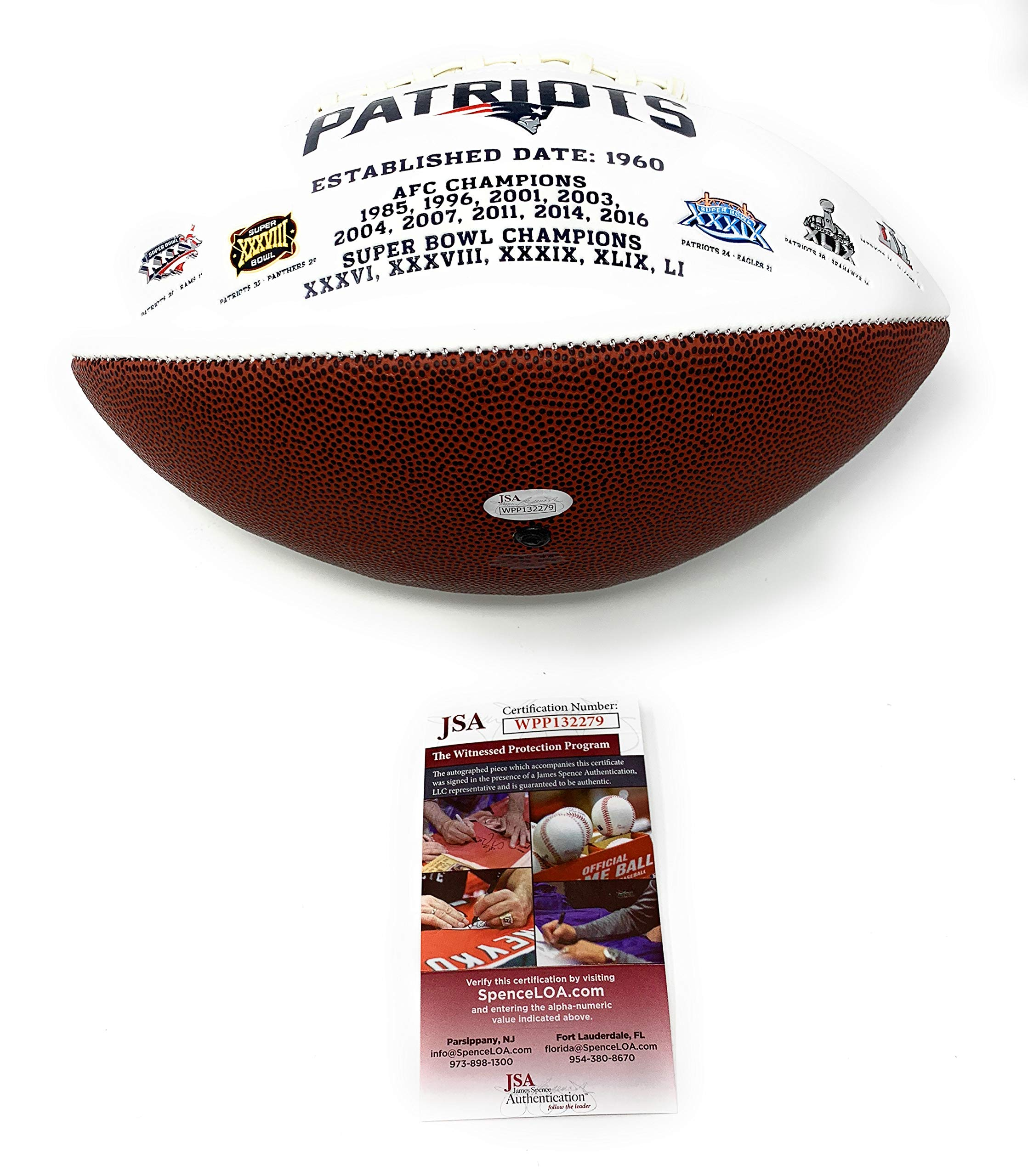 Rob Gronkowski New England Patriots Signed Autograph Embroidered Logo Football Main Panel JSA Witnessed Certified