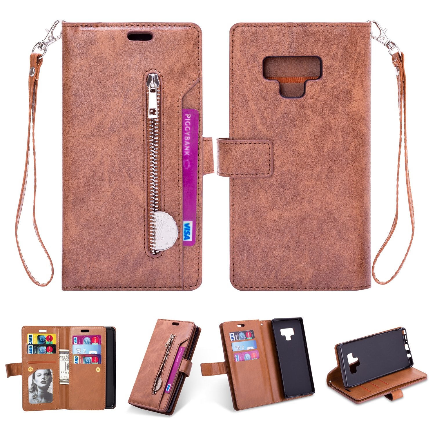 FuriGer Case for Samsung Galaxy Note 9, Premium PU Leather Wallet Case, Zipper Wallet Case,Magnetic Closure, Detachable Magnetic Case with Card Slots for Samsung Galaxy Note 9 - Brown