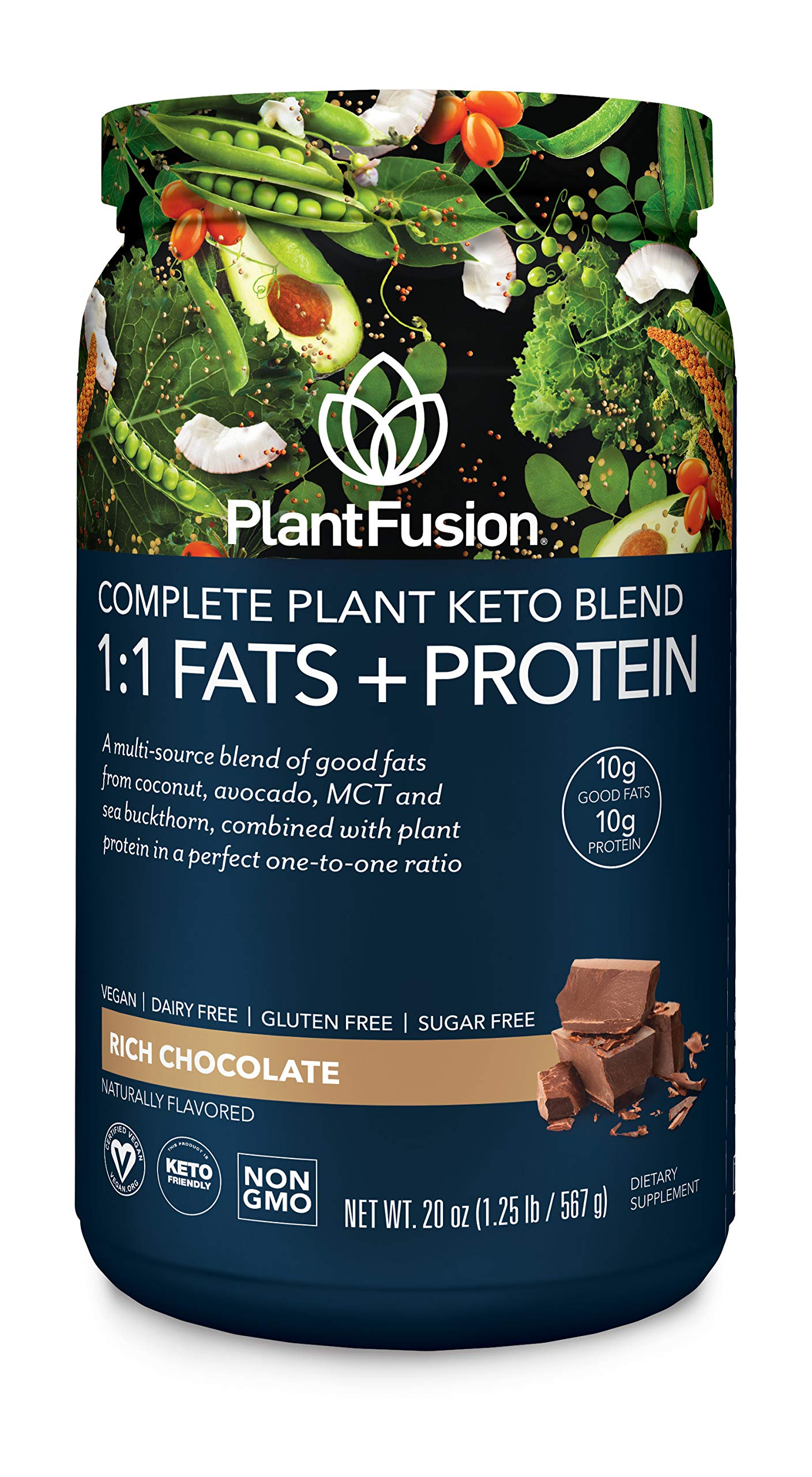 PlantFusion Complete Plant Based Keto Blend |1:1 Fats + Protein Powder Drink, Ketogenic Diet Supplement, MCTs, No Sugar, Gluten Free, Non Dairy, Vegan, Non Soy, Non GMO, 18 Servings, 20.00 Ounce by PlantFusion