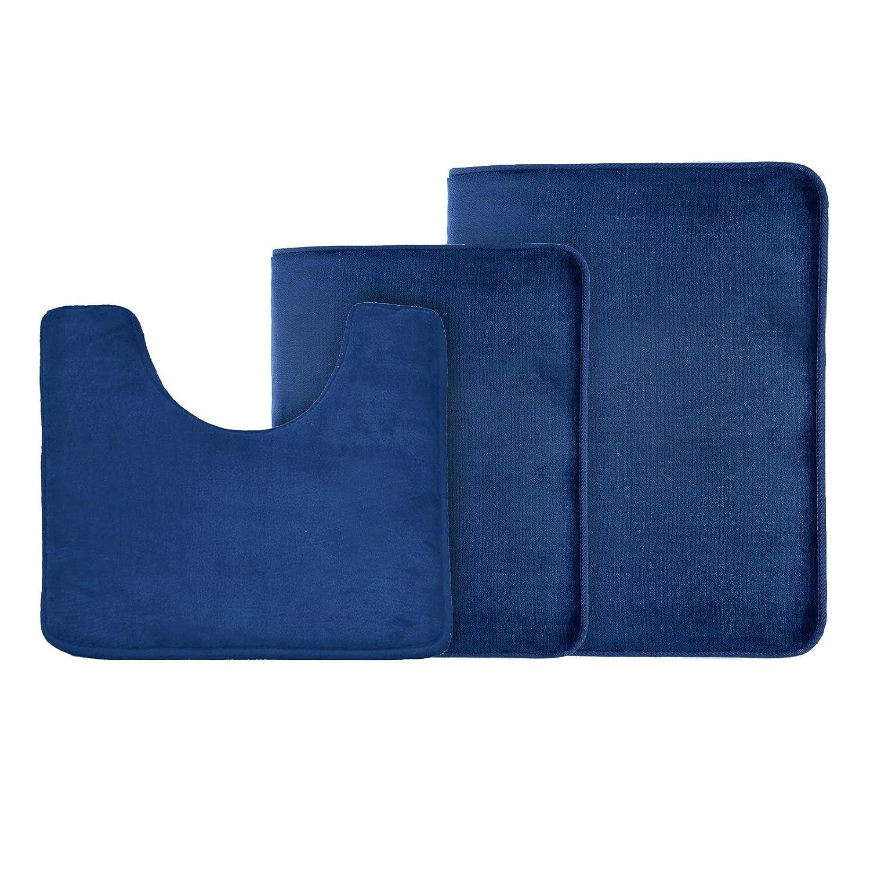 Clara Clark 3-Pack Bath Mat Set – Large, Small and Contour Bathroom Rug Set, Absorbent Memory Foam Bath Rugs, Non-Slip, Thick, Velvet Microfiber Bathrug, Plush Shower Toilet Bathmats Carpet Royal Blue