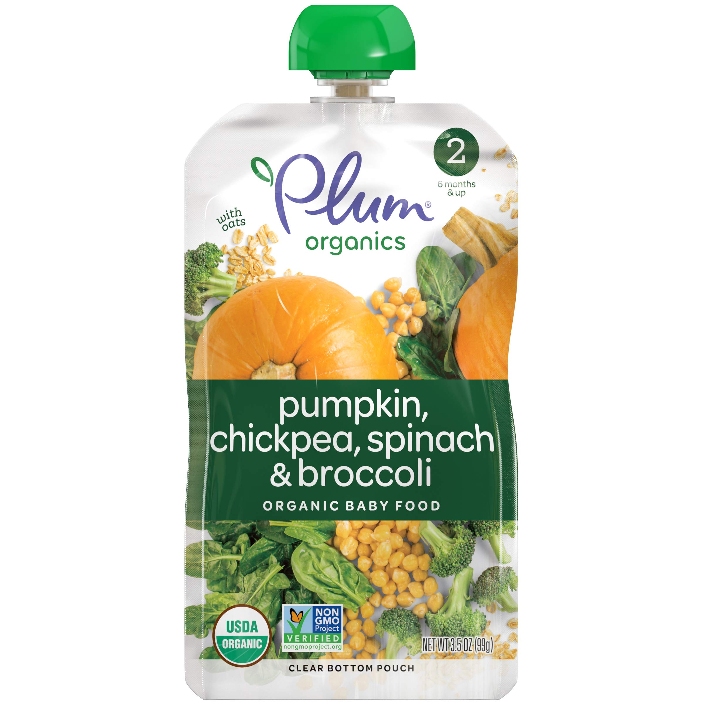 Plum Organics Stage 2 Hearty Veggie, Organic Baby Food, Pumpkin, Spinach, Chickpea and Broccoli, 3.5 ounce pouches (Pack of 12) (Packaging May Vary) by Plum Organics