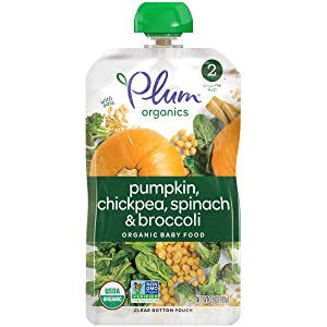 Plum Organics Stage 2 Hearty Veggie, Organic Baby Food, Pumpkin, Spinach, Chickpea and Broccoli, 3.5 Ounce Pouches (Pack of 12)