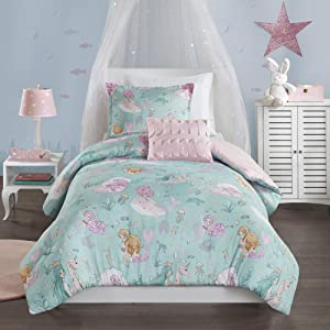 Mi Zone Kids Darya Comforter Mermaid Clam Shell Sea Ocean Whale Fish Printed Scale Pillow Ultra-Soft Overfilled Down Alternative Hypoallergenic All Season Bedding-Set, Twin, Aqua/Pink
