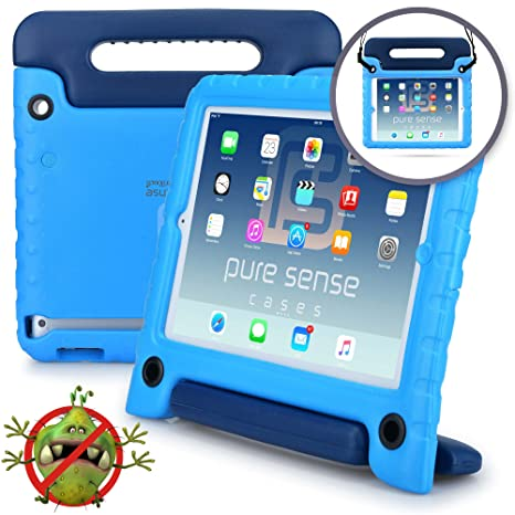 pretty nice e9d85 cd990 Pure Sense Buddy [Anti-Microbial Kids Case] Child Proof case for Samsung  Tab E 9.6 | Rugged Cover: Stand, Handle, Shoulder Strap | SM-T560 T561  (Blue)