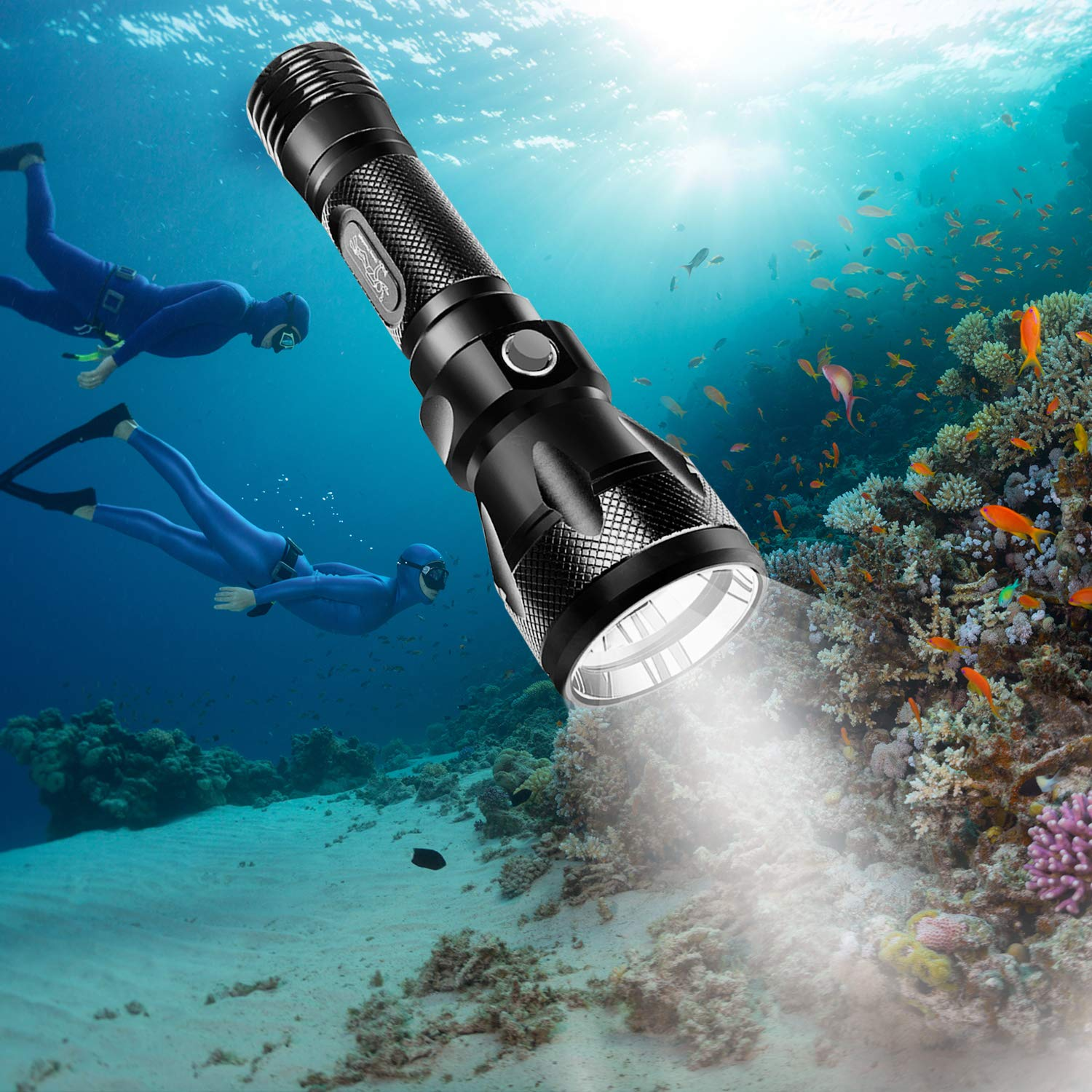 BlueFire Super Bright 1000LM CREE XM-L2 Scuba Dive Diving Flashlight 100m Underwater Torch Waterproof Submarine Light Scuba Safety Lights(Without Battery) by BlueFire