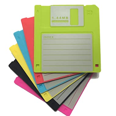 Set of 6 Blank Labled Retro Floppy Disk Silicone Drink Coaster 1.44m Diskette Novelty Design Non-slip